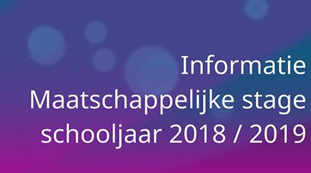Maatschappelijke Stage derdejaars leerlingen 2018/2019